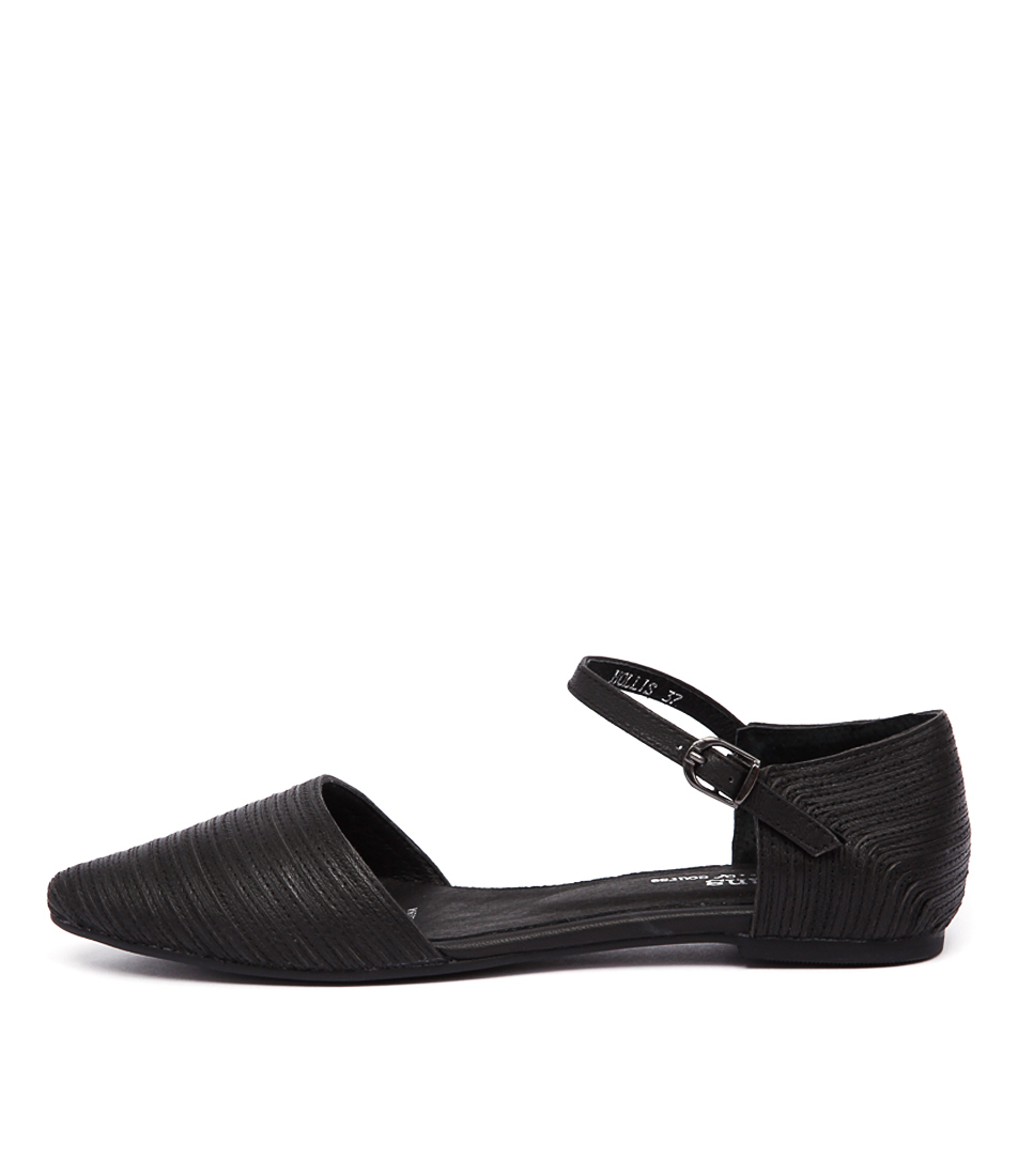 Gamins Hollis Black Stitch Flat Shoes