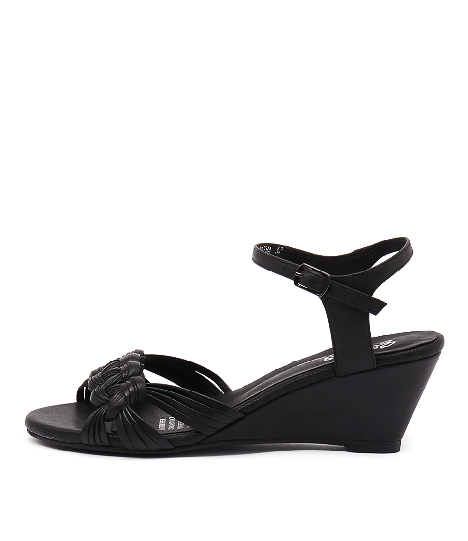 Gamins Crema Black Heeled Sandals