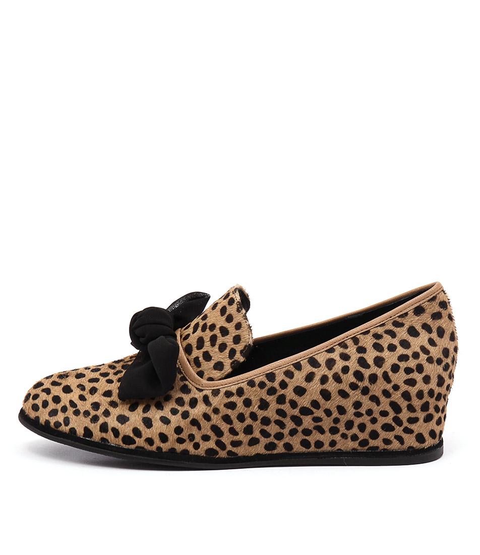 Gamins Poetic Ocelot Black Casual Heeled Shoes