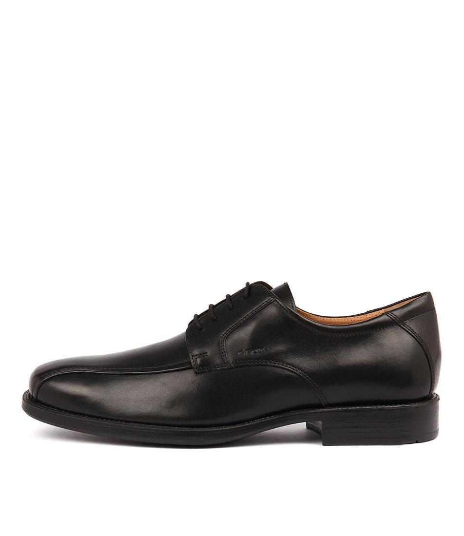 Détails sur New Geox Federico W Black Leather Mens Shoes Dress Shoes Flat