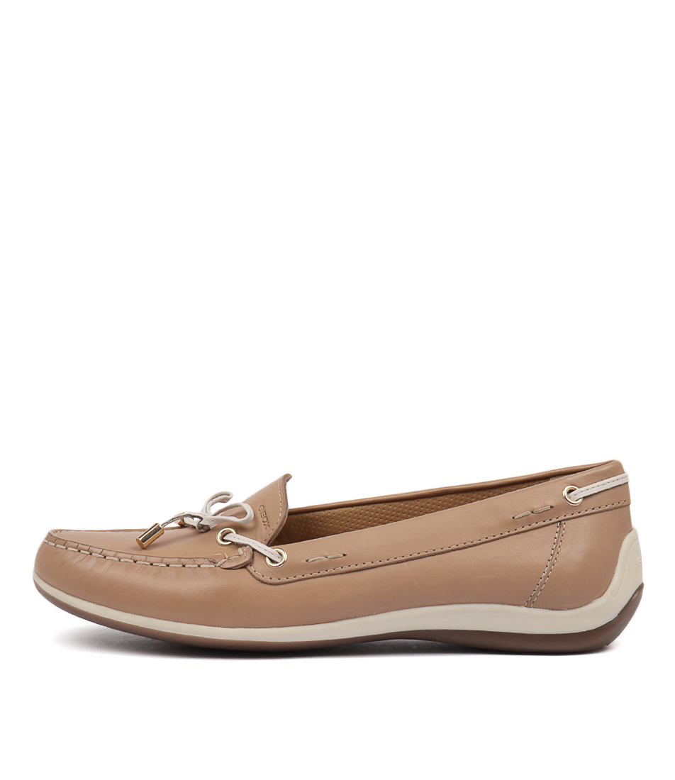 172ee44433e New Geox Yuki A Lt Taupe Leather Womens Shoes Casual Shoes Flat
