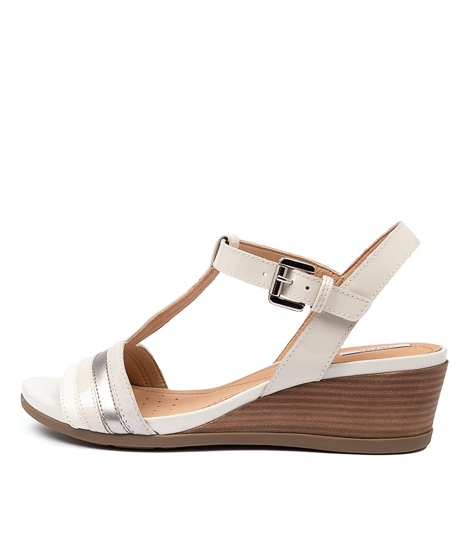 Buy Geox D Marykarmen C White Silver Heeled Sandals online with free shipping