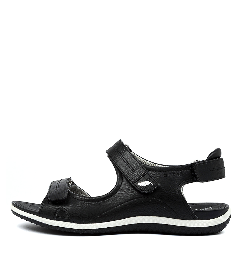 Buy Geox D Sand Vega A Black Flat Sandals online with free shipping