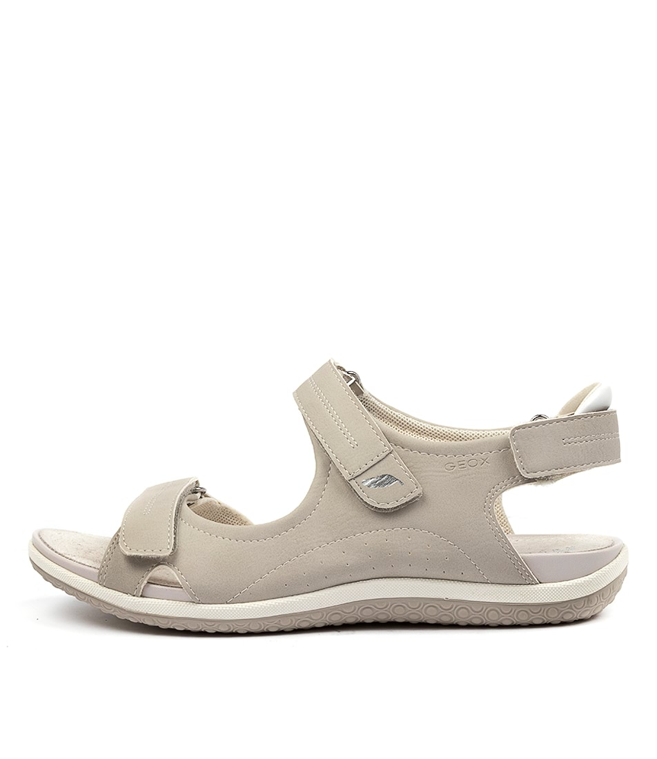 Buy Geox D Sand Vega A Lt Grey Flat Sandals online with free shipping