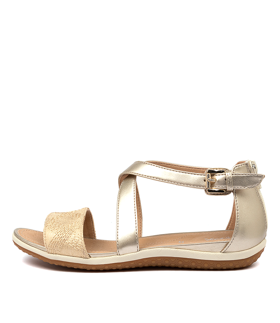 Buy Geox D Sand Vega F Light Gold Flat Sandals online with free shipping