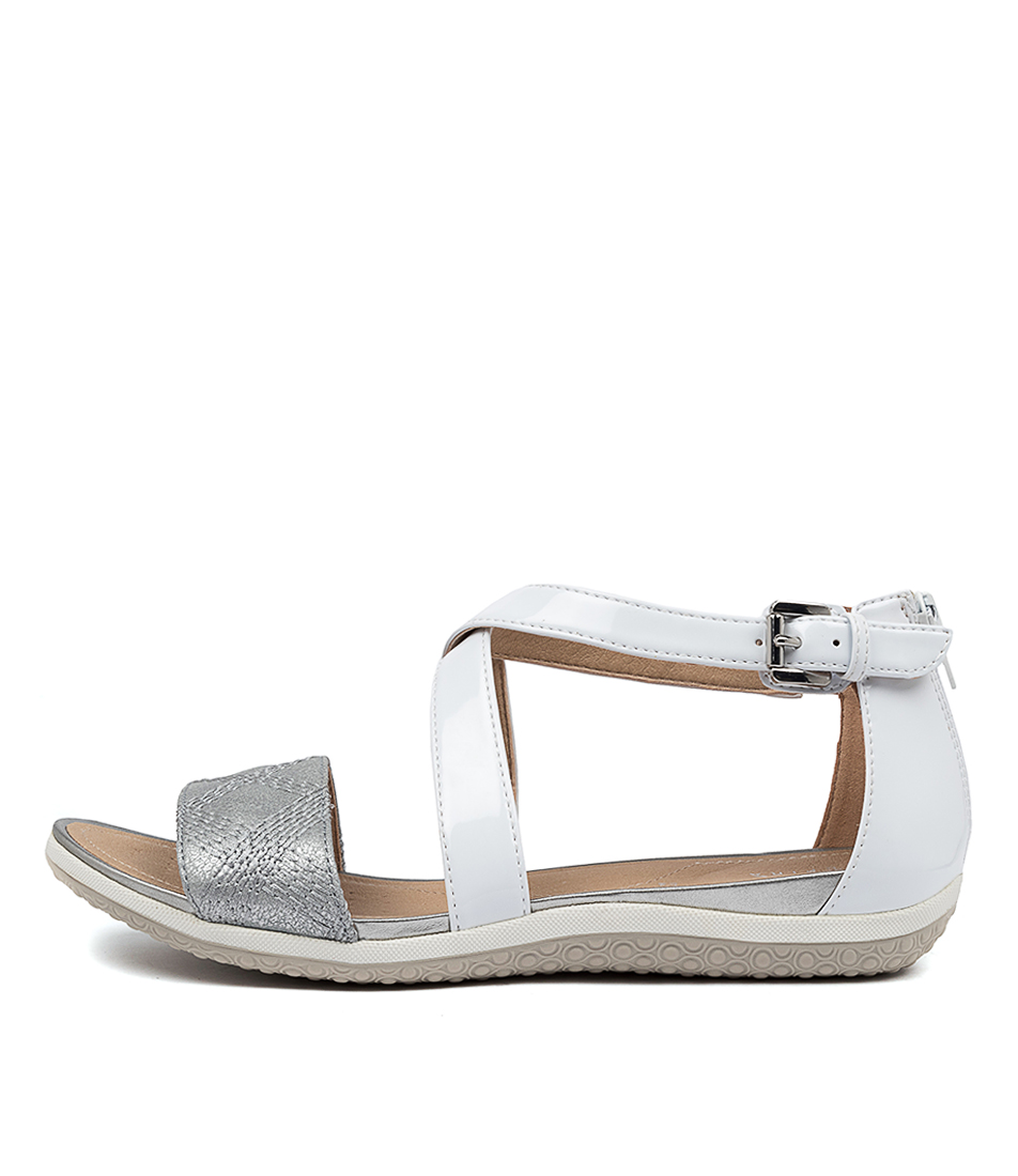Buy Geox D Sand Vega F White Silver Flat Sandals online with free shipping