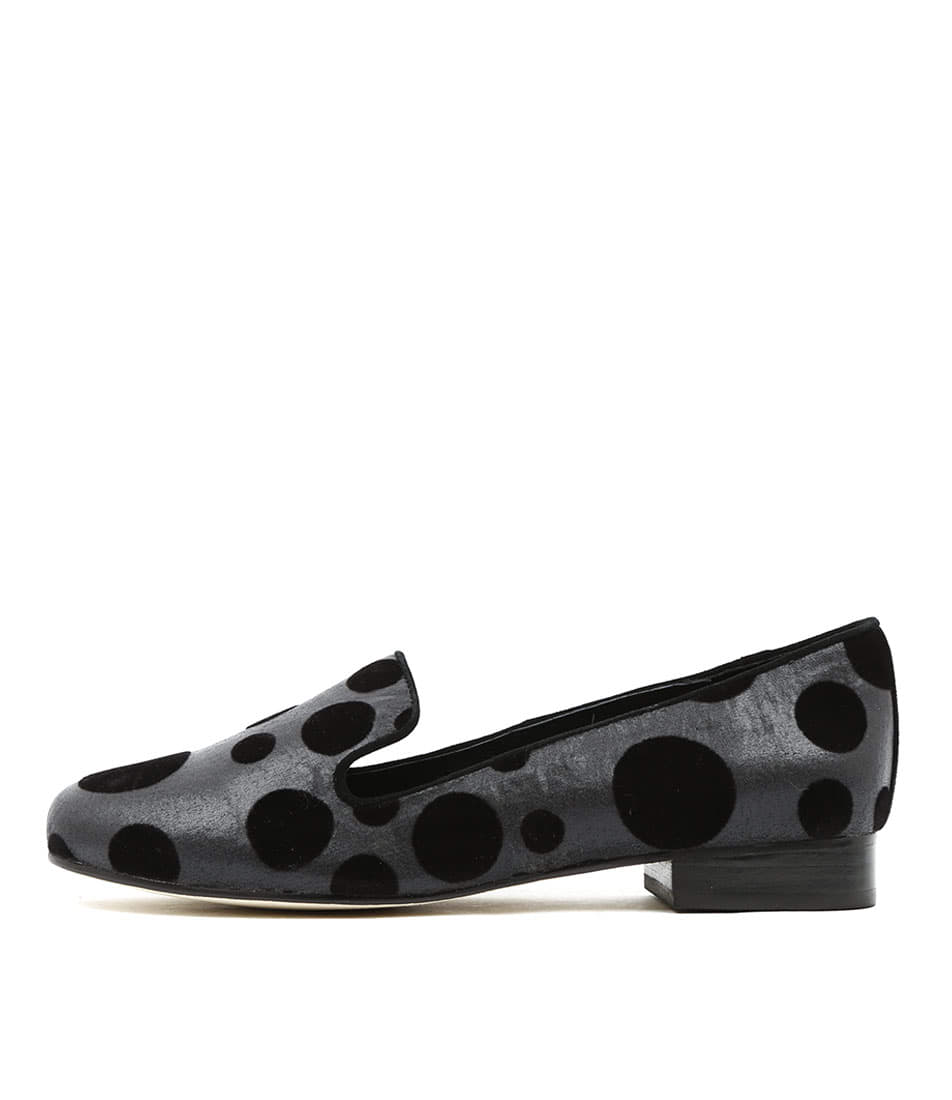 Gamins Goner Black & Grey Spot Flat Shoes