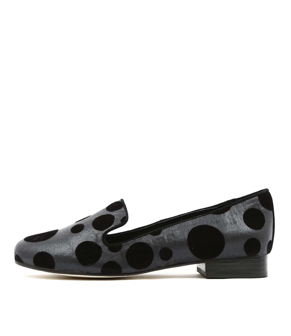 Gamins Goner Black & Grey Spot Casual Flat Shoes