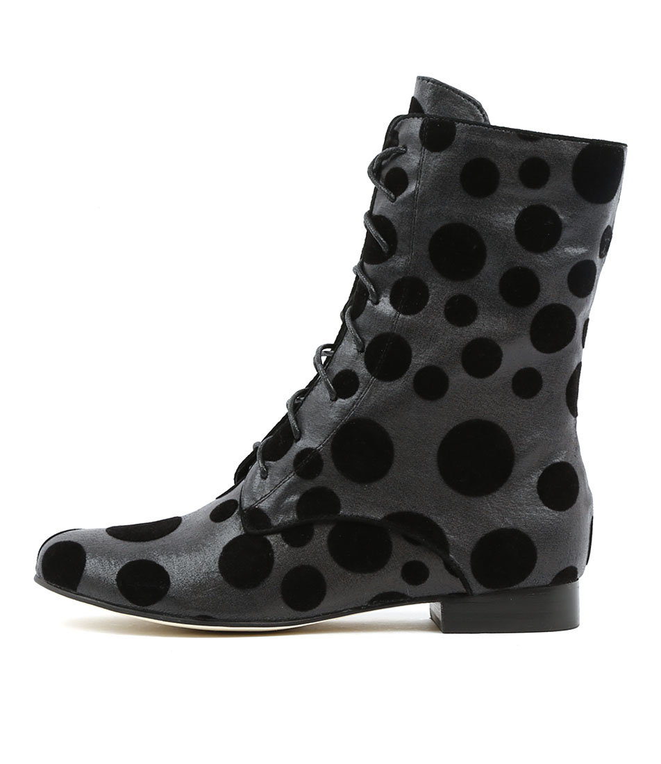 Gamins Grumpa Black & Grey Spot Casual Ankle Boots