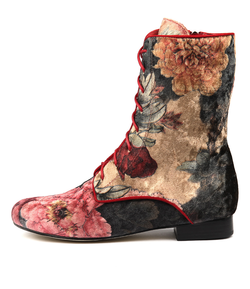 Gamins Grumpa Red Flower Ankle Boots