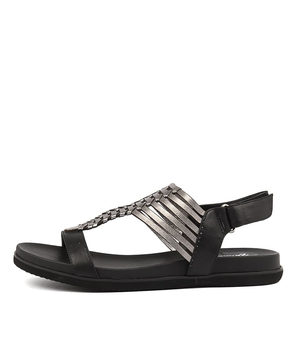 Gamins Vanna Black Pewter Casual Flat Sandals