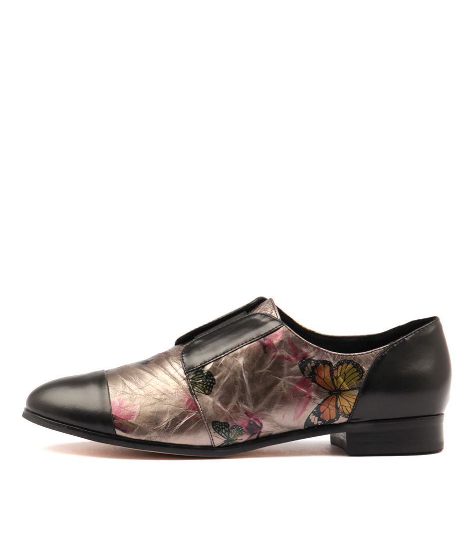 Gamins Junta Black Metallic Butterfly Flat Shoes