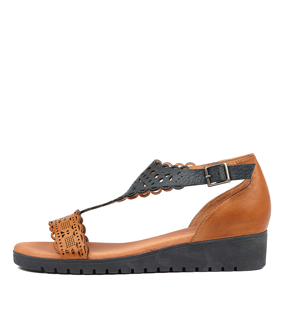 Buy Gamins Furman Dk Tan Navy Flat Sandals online with free shipping
