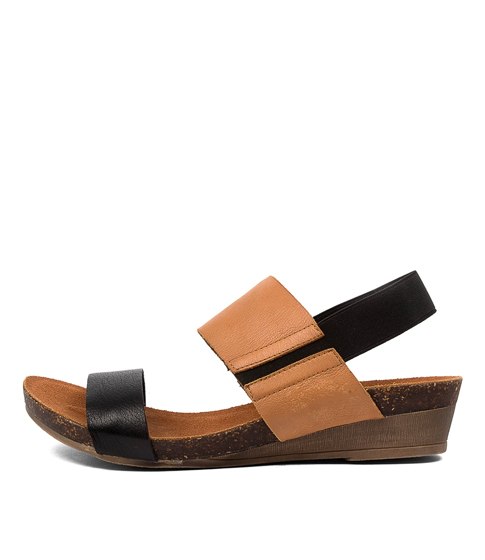 Buy Gamins Marely Gm Black Tan Flat Sandals online with free shipping