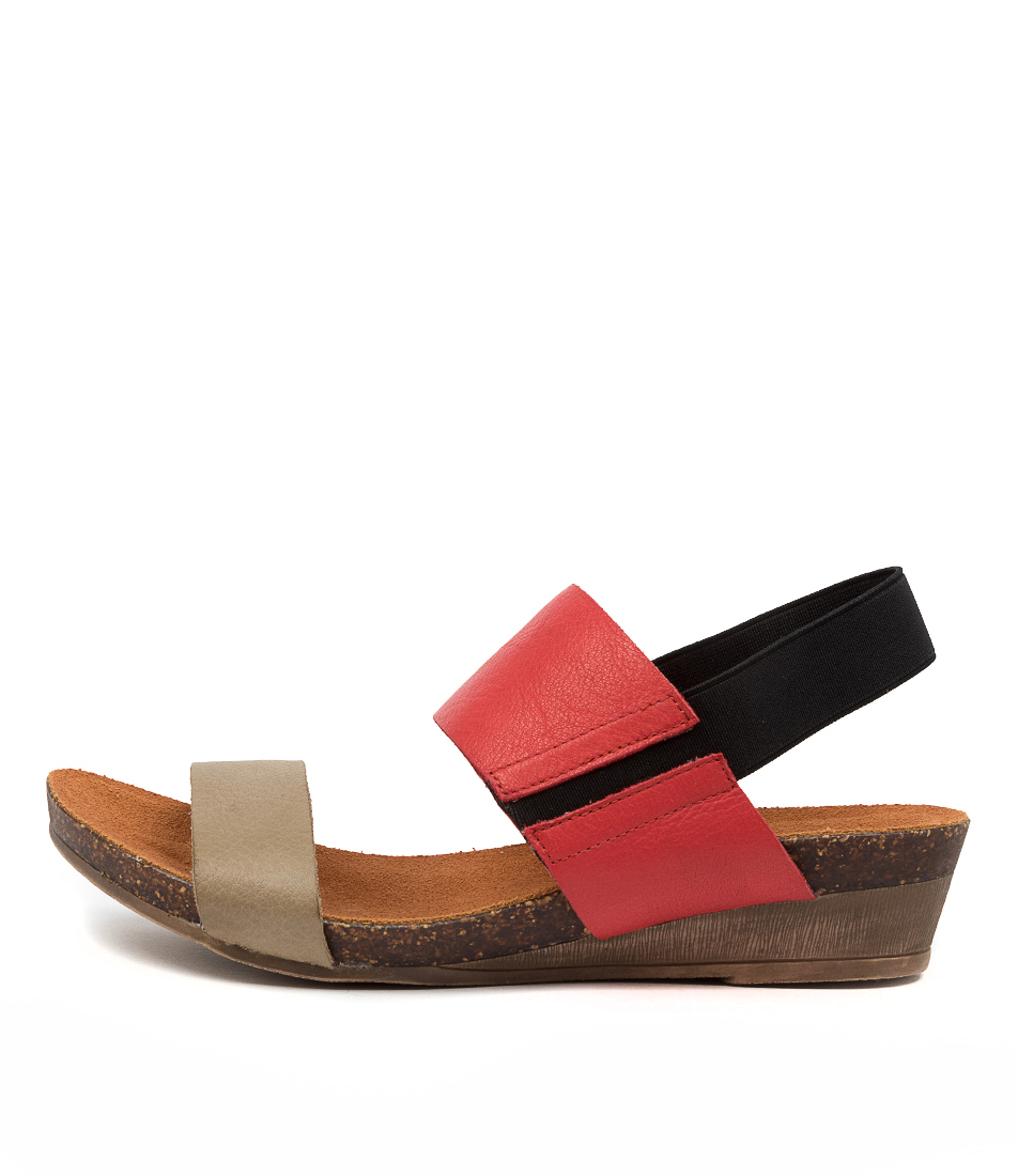 Buy Gamins Marely Gm Khaki Red Flat Sandals online with free shipping