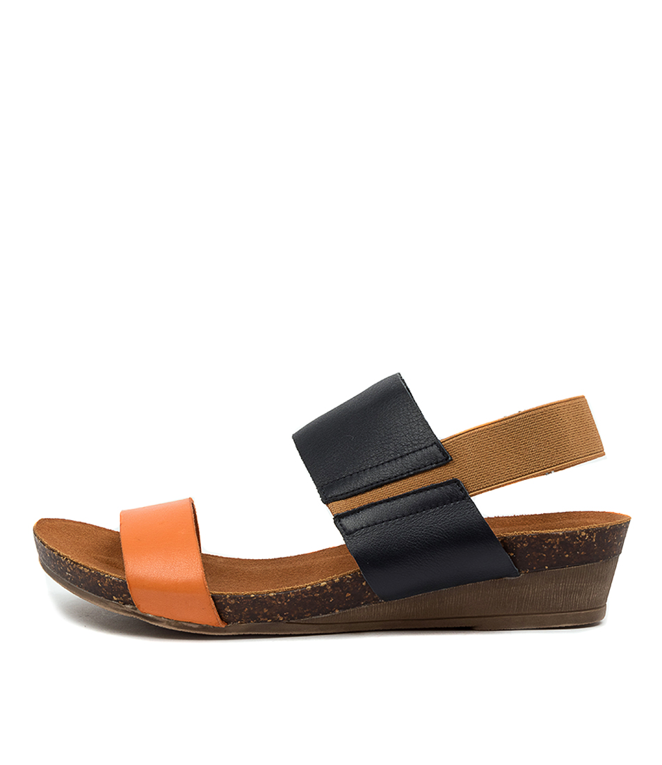 Buy Gamins Marely Gm Bright Orange Navy Flat Sandals online with free shipping