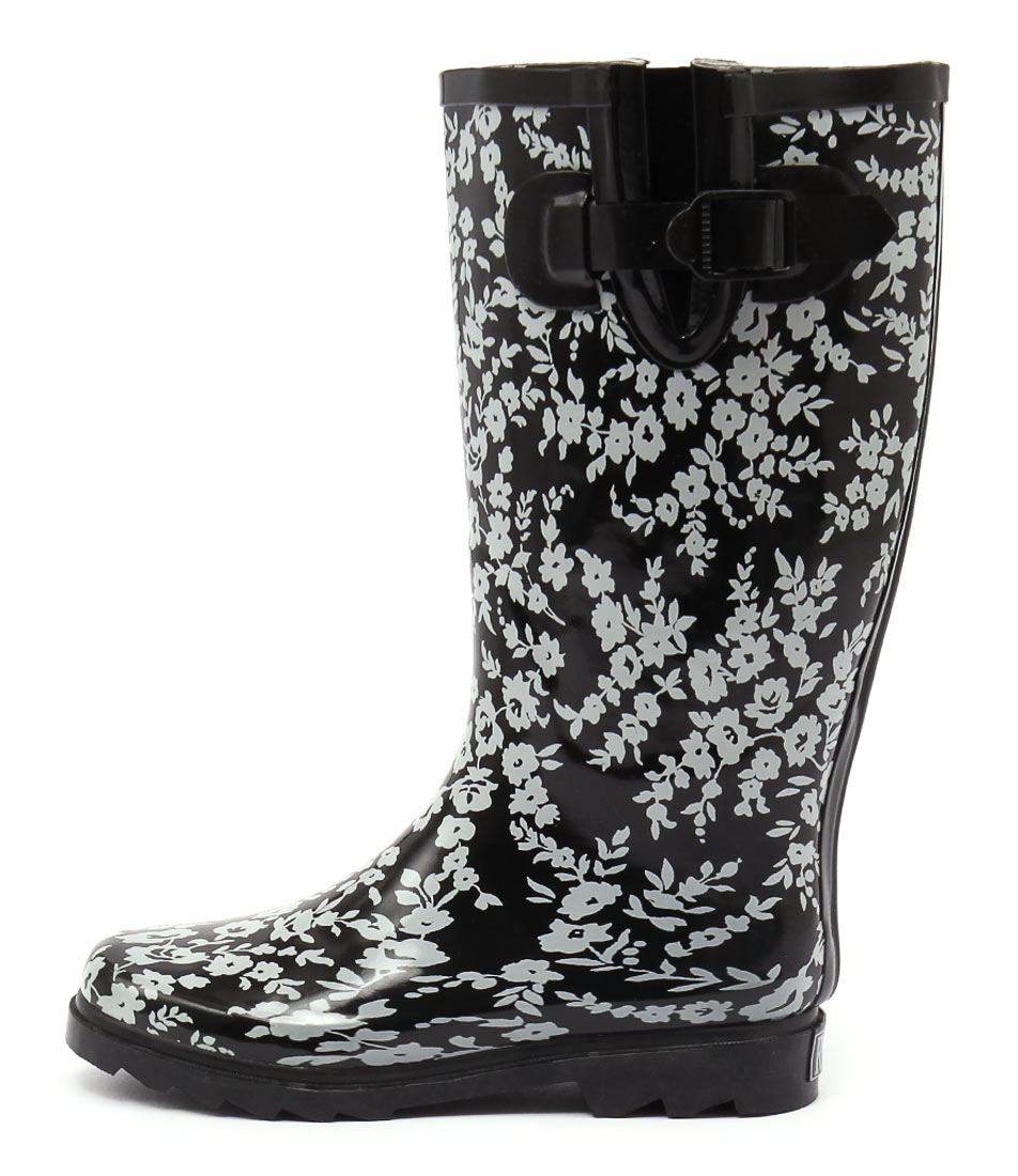 Gumboots Flower Black White Boots