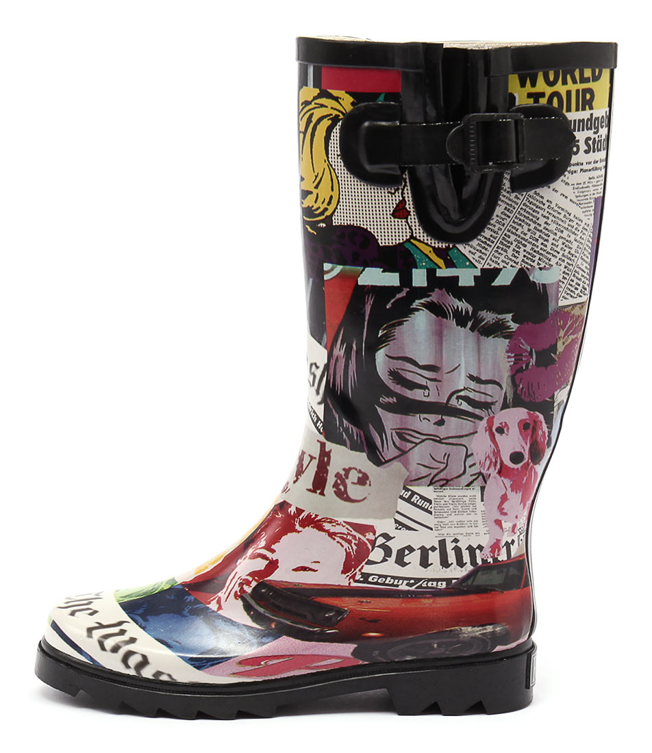 Gumboots Newspaper Print Long Newspaper Calf Boots