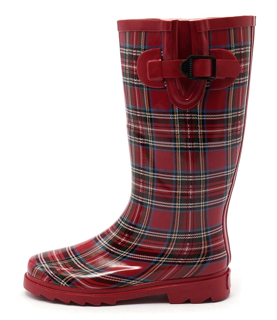 Gumboots Long Red Tartan Red Casual Calf Boots