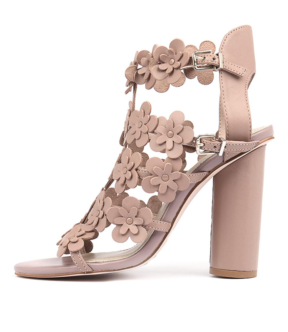 Hael & Jax Ostrich Mushroom Heeled Sandals