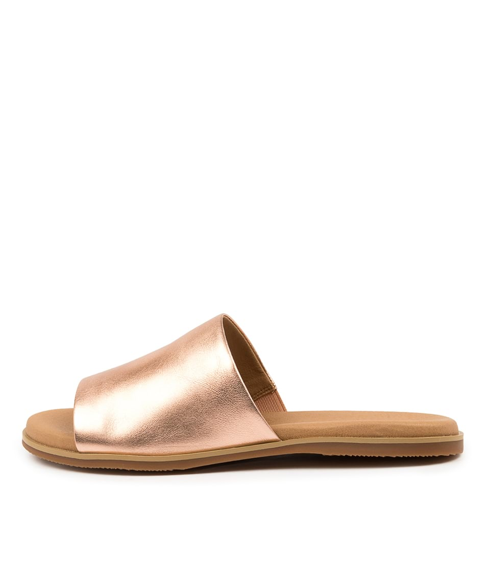 Buy Hush Puppies Paradise Hp Rose Gold Metallic Flat Sandals online with free shipping