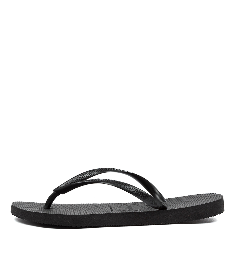 Buy Havaianas Slim Basic Hv Black Flat Sandals online with free shipping