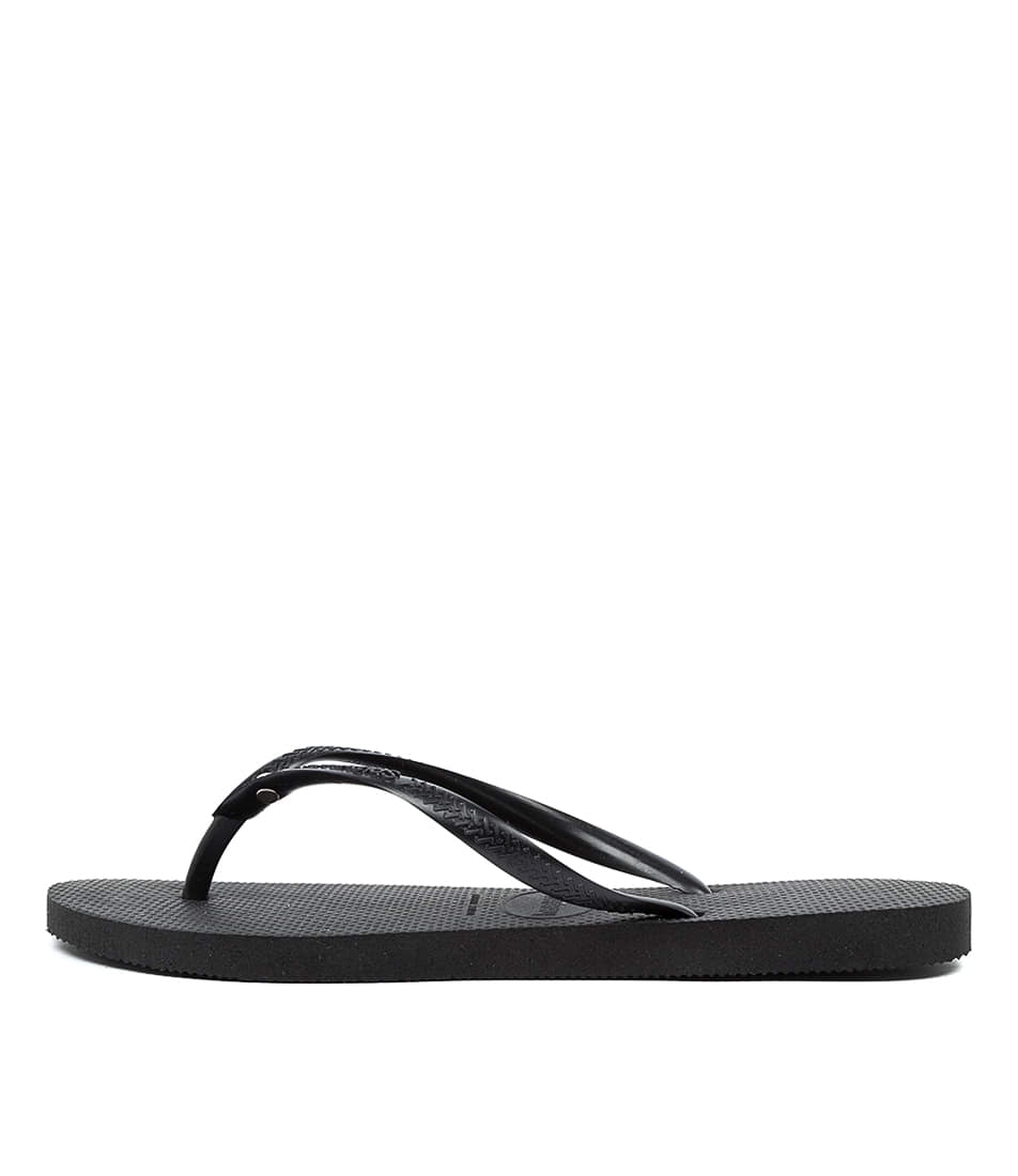 Buy Havaianas Slim Crystal Hv Black Flat Sandals online with free shipping