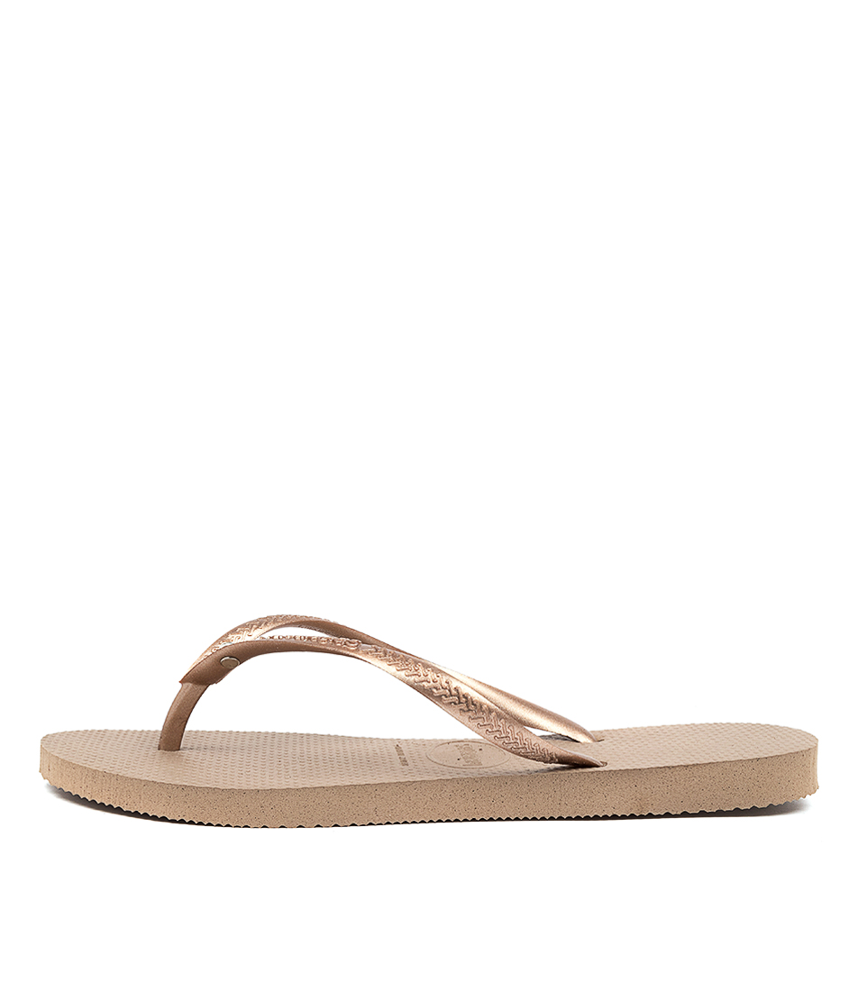 Buy Havaianas Slim Crystal Hv Rose Gold Flat Sandals online with free shipping