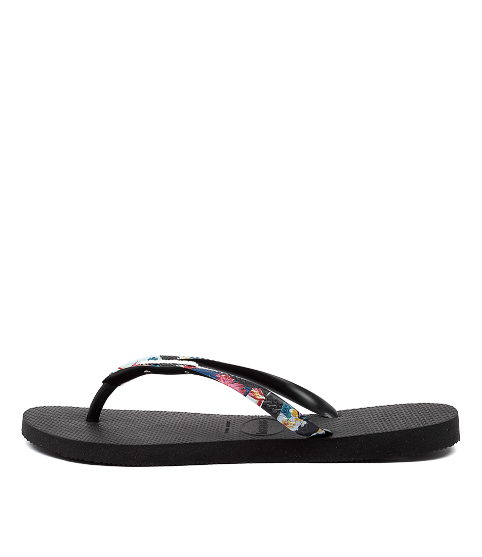 Buy Havaianas Slim Customised Hv Black Floral Flat Sandals online with free shipping