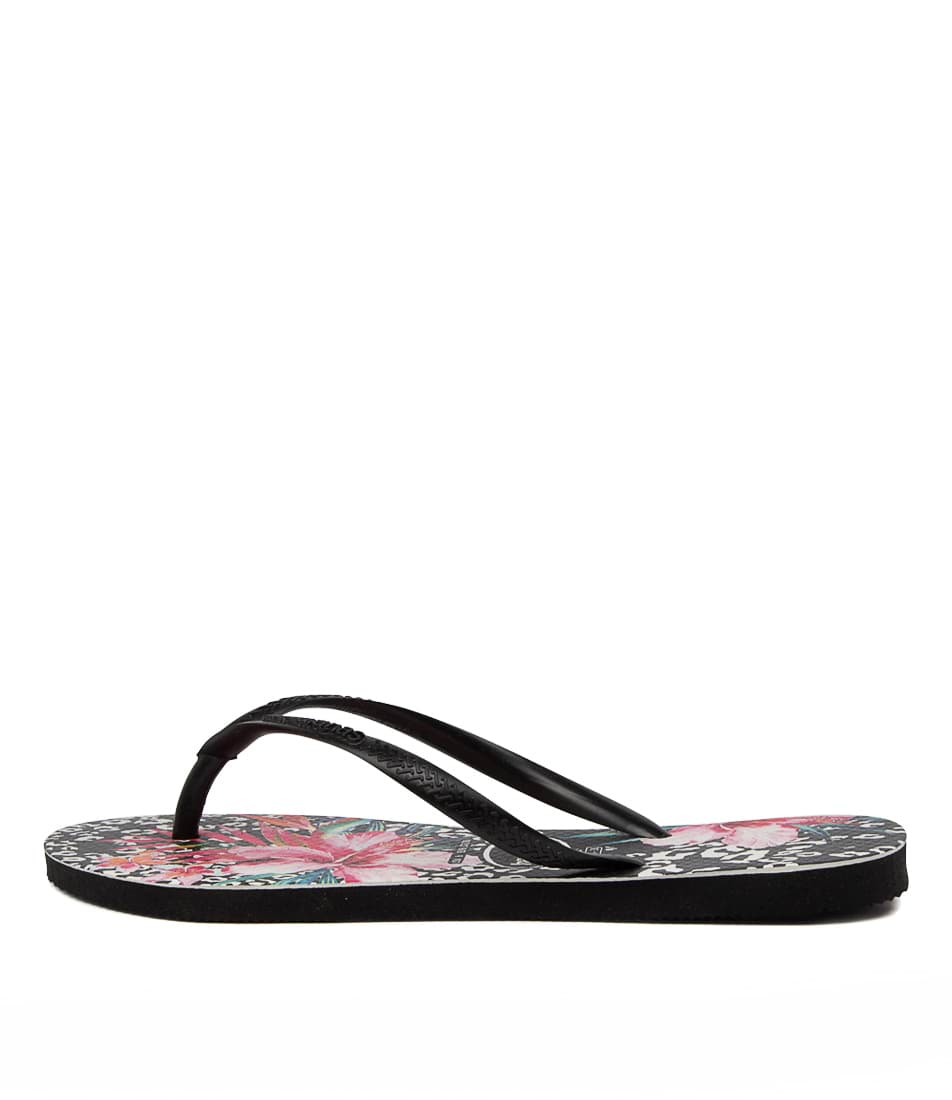 Buy Havaianas Slim Prints Hv Floral Black Flat Sandals online with free shipping