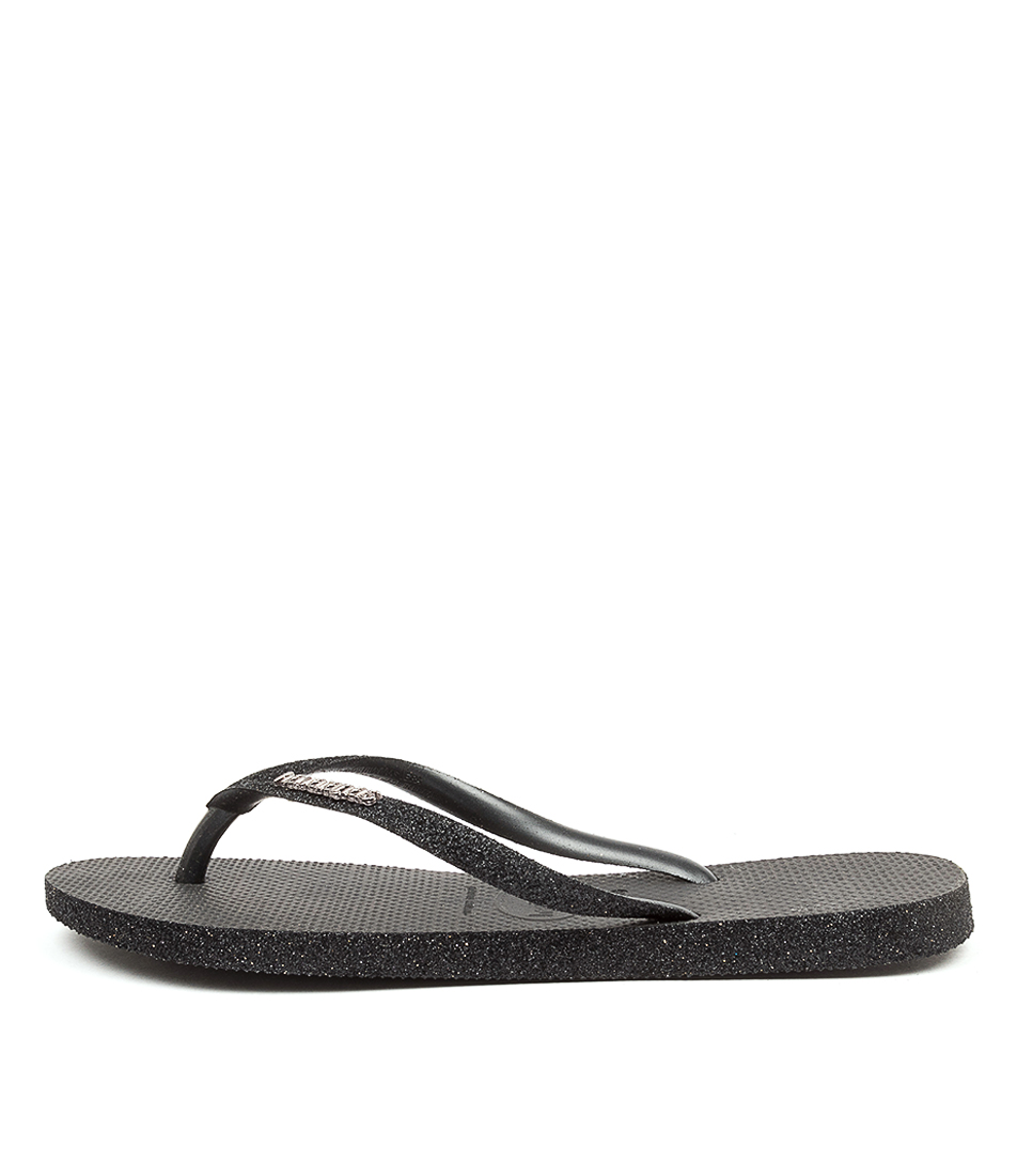 Buy Havaianas Slim Sparkle Hv Black Flat Sandals online with free shipping