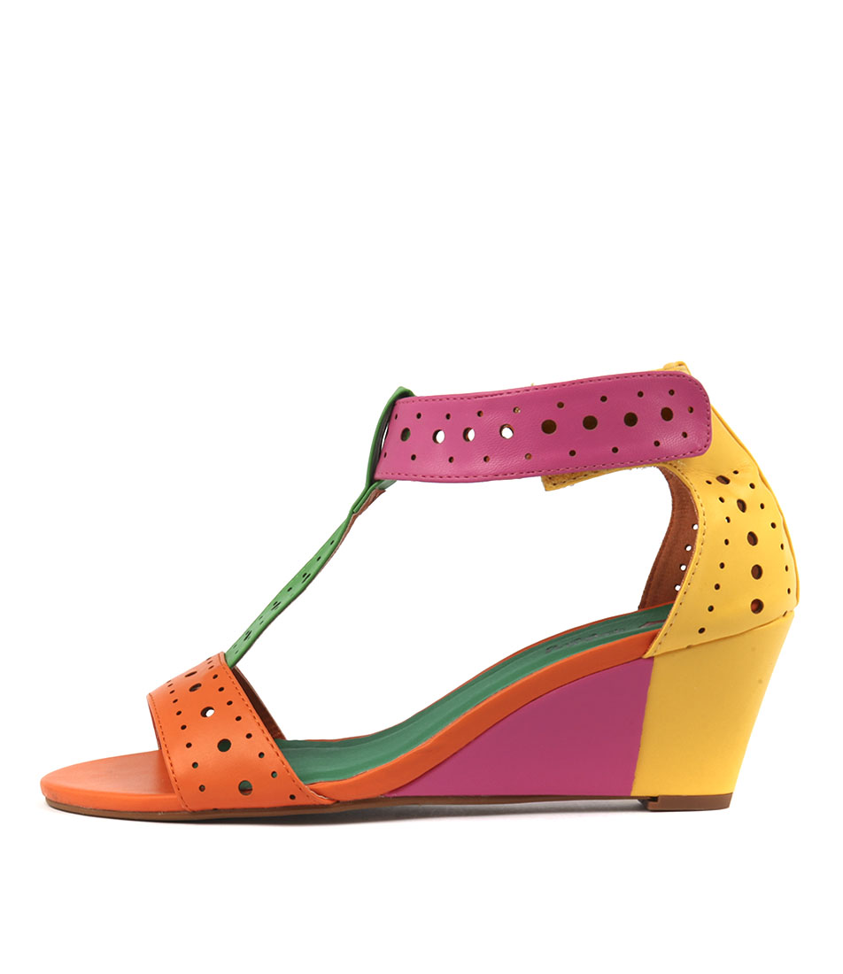 I Love Billy Blanche Bright Multi Heeled Sandals