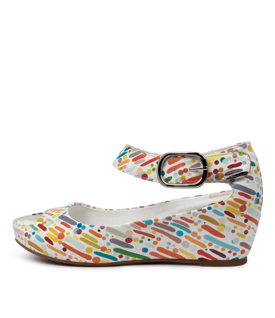 Buy I Love Billy Tindol White & Multi Carnival Heeled Sandals online with free shipping