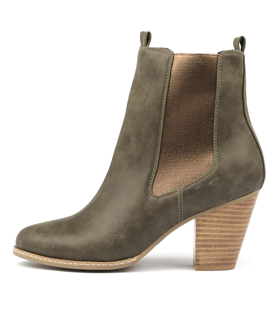 I Love Billy Cappy Olive Bronze Ankle Boots