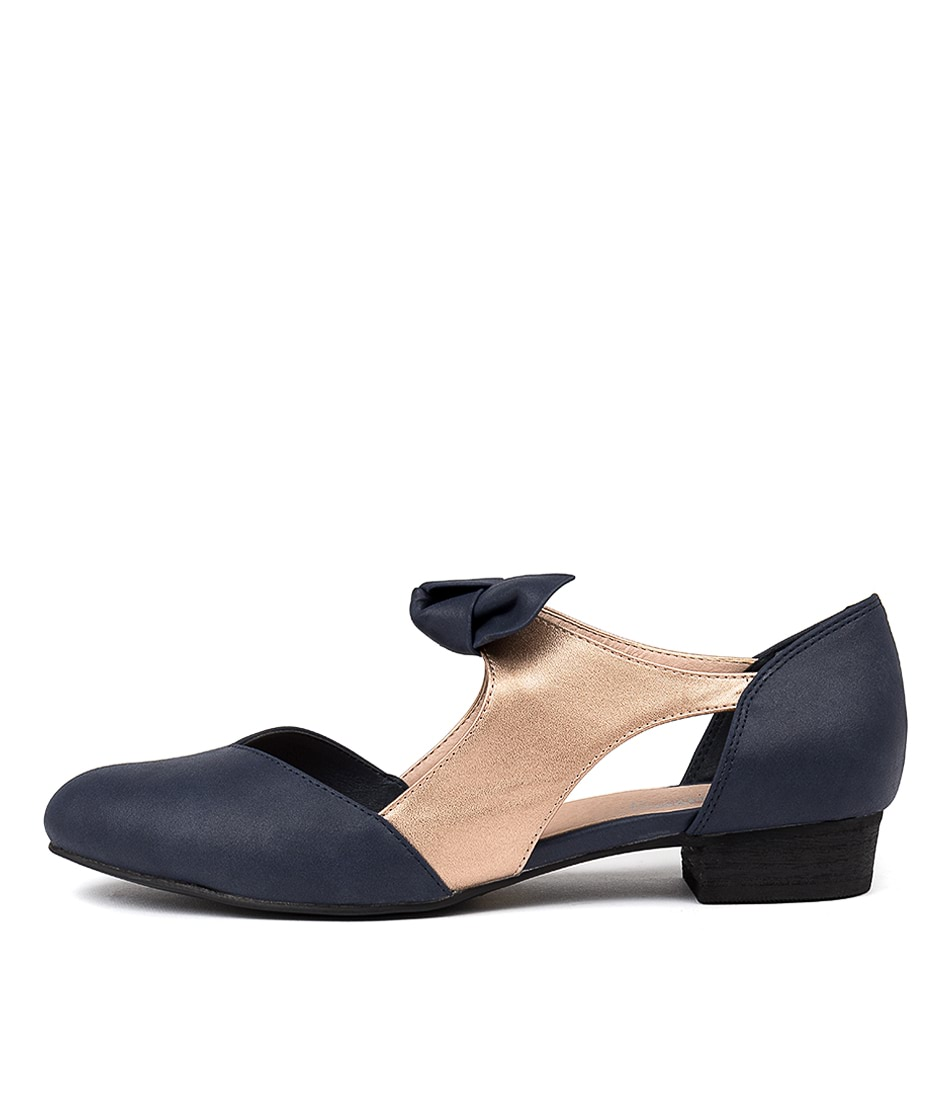 Buy I Love Billy Estella Navy Rose Gold Flats online with free shipping