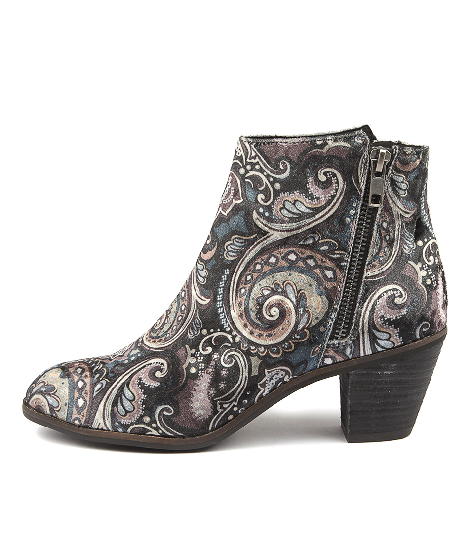 I Love Billy Nolo Black Paisley Ankle Boots