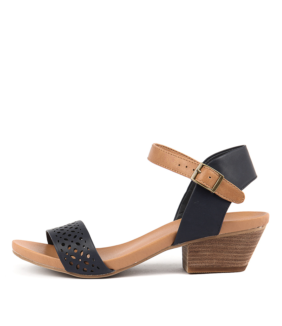 I Love Billy Cooper Navy Tan Heeled Sandals