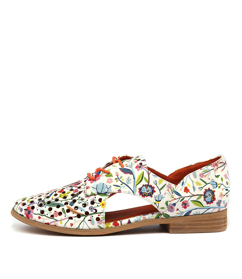 I Love Billy Quietly White Multi Casual Flat Shoes