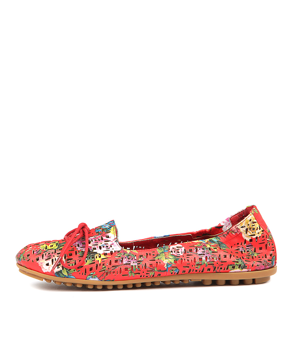 I Love Billy Bonny Red Bold Flower Flat Shoes
