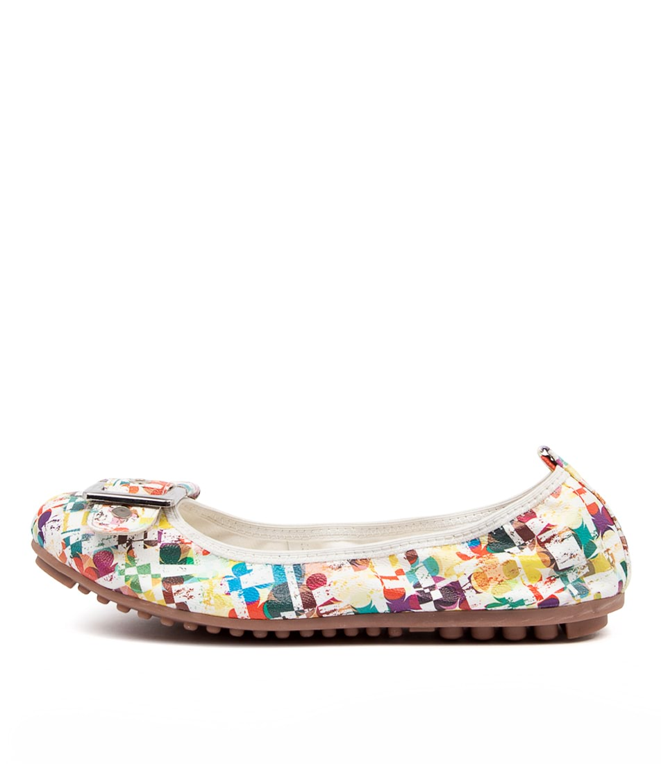 Buy I Love Billy Cory White Abstract Flats online with free shipping