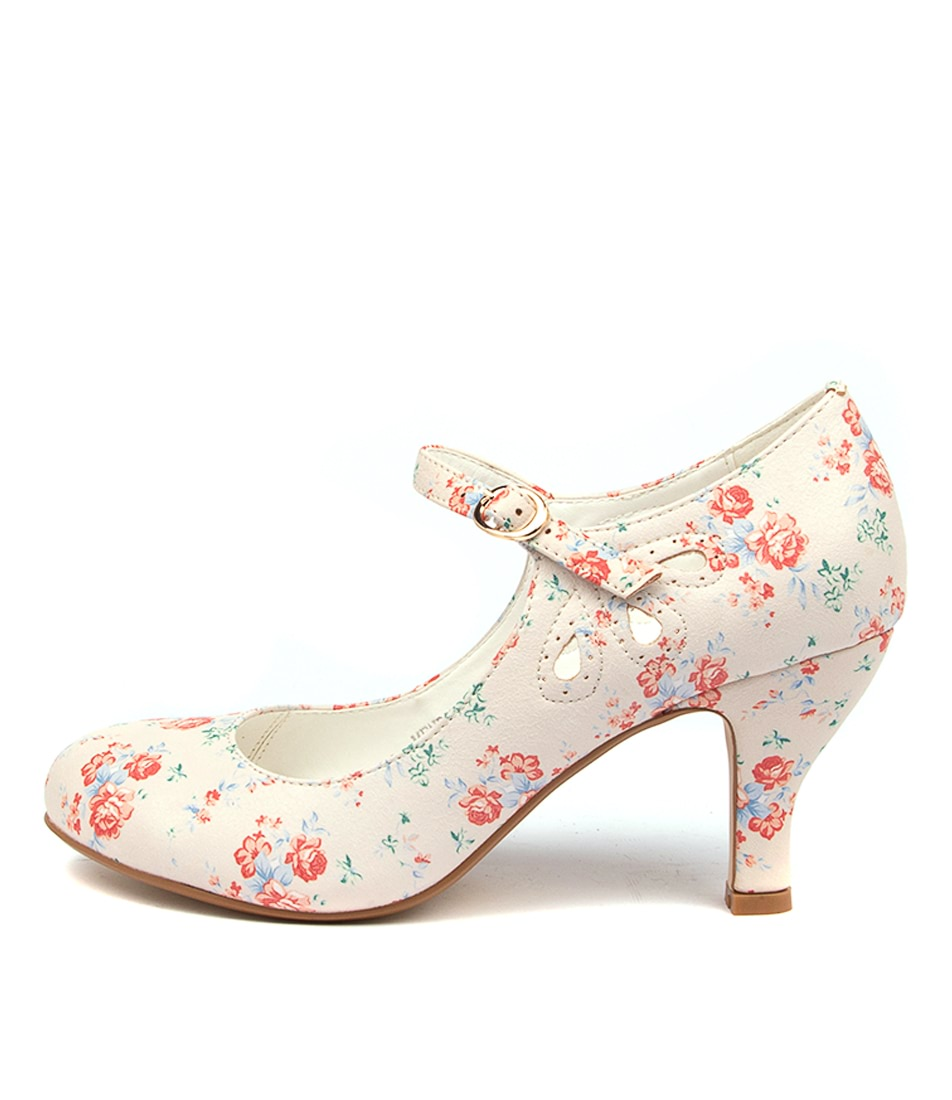 Buy I Love Billy Mendy White Ditzy Floral High Heels online with free shipping