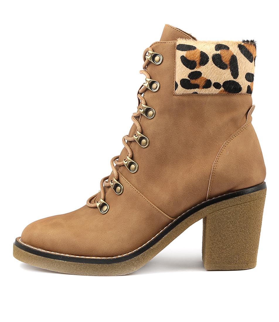 I Love Billy Kaley Tan Ocelot Ankle Boots
