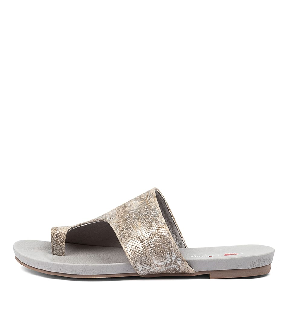 Buy I Love Billy Jonnie Pewter Lizard Flat Sandals online with free shipping