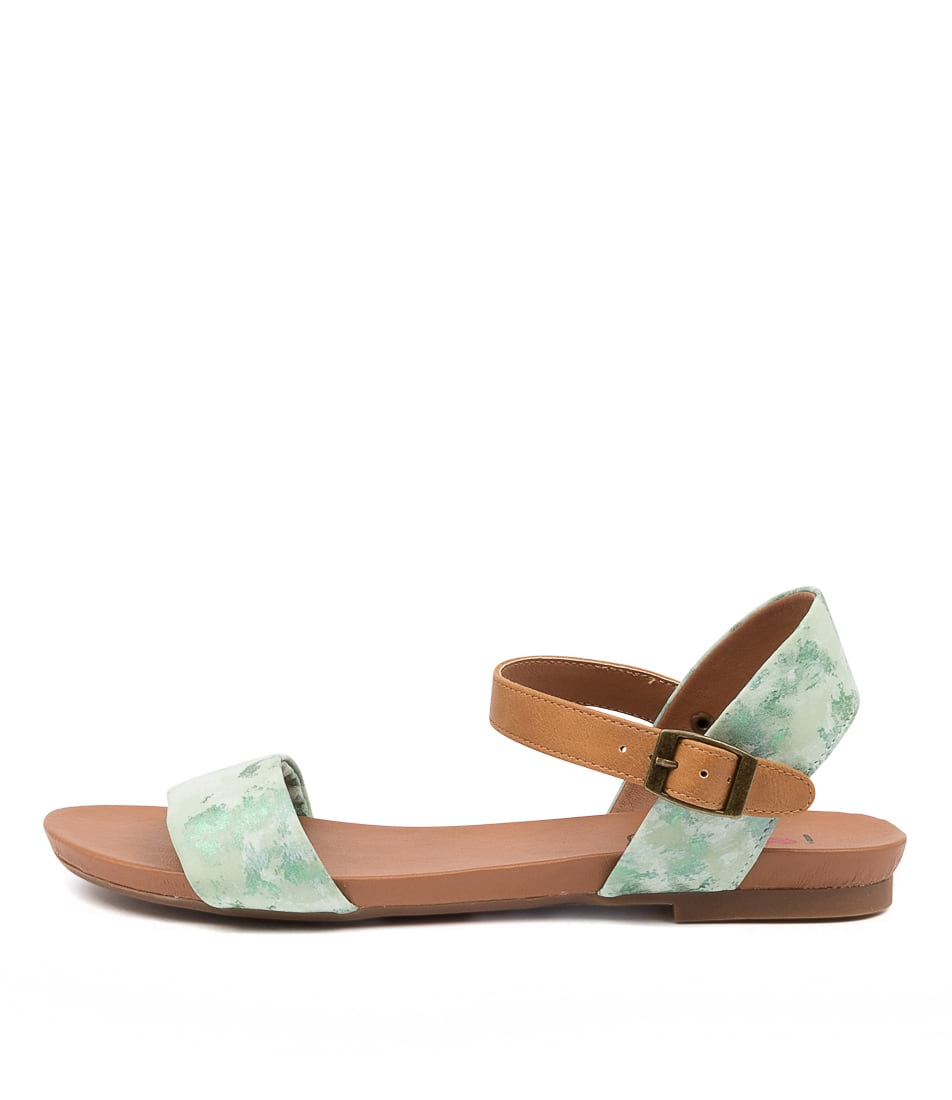 Buy I Love Billy Saratoga Green Marble Tan Flat Sandals online with free shipping