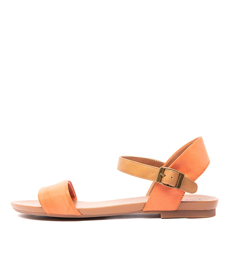 Buy I Love Billy Saratoga Orange Tan Flat Sandals online with free shipping