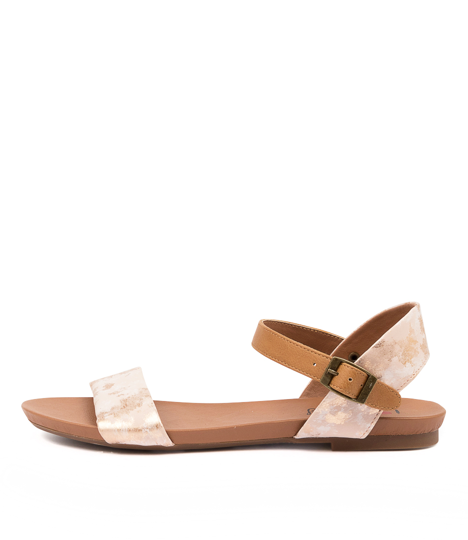 Buy I Love Billy Saratoga Rose Marble Tan Flat Sandals online with free shipping