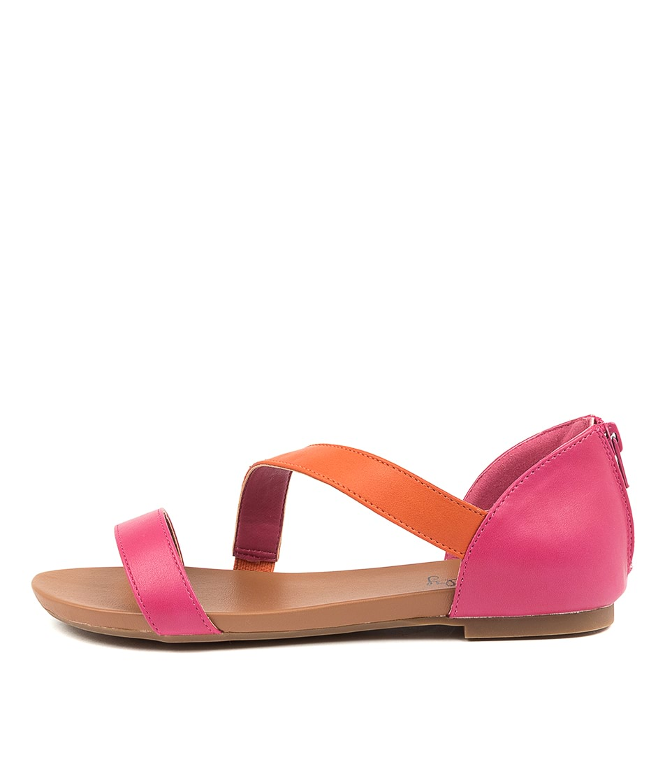 Buy I Love Billy Sarran Fuchsia Orange Flat Sandals online with free shipping