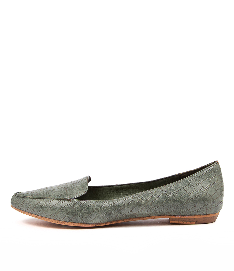 Buy I Love Billy Burleigh Sage Croc Flats online with free shipping