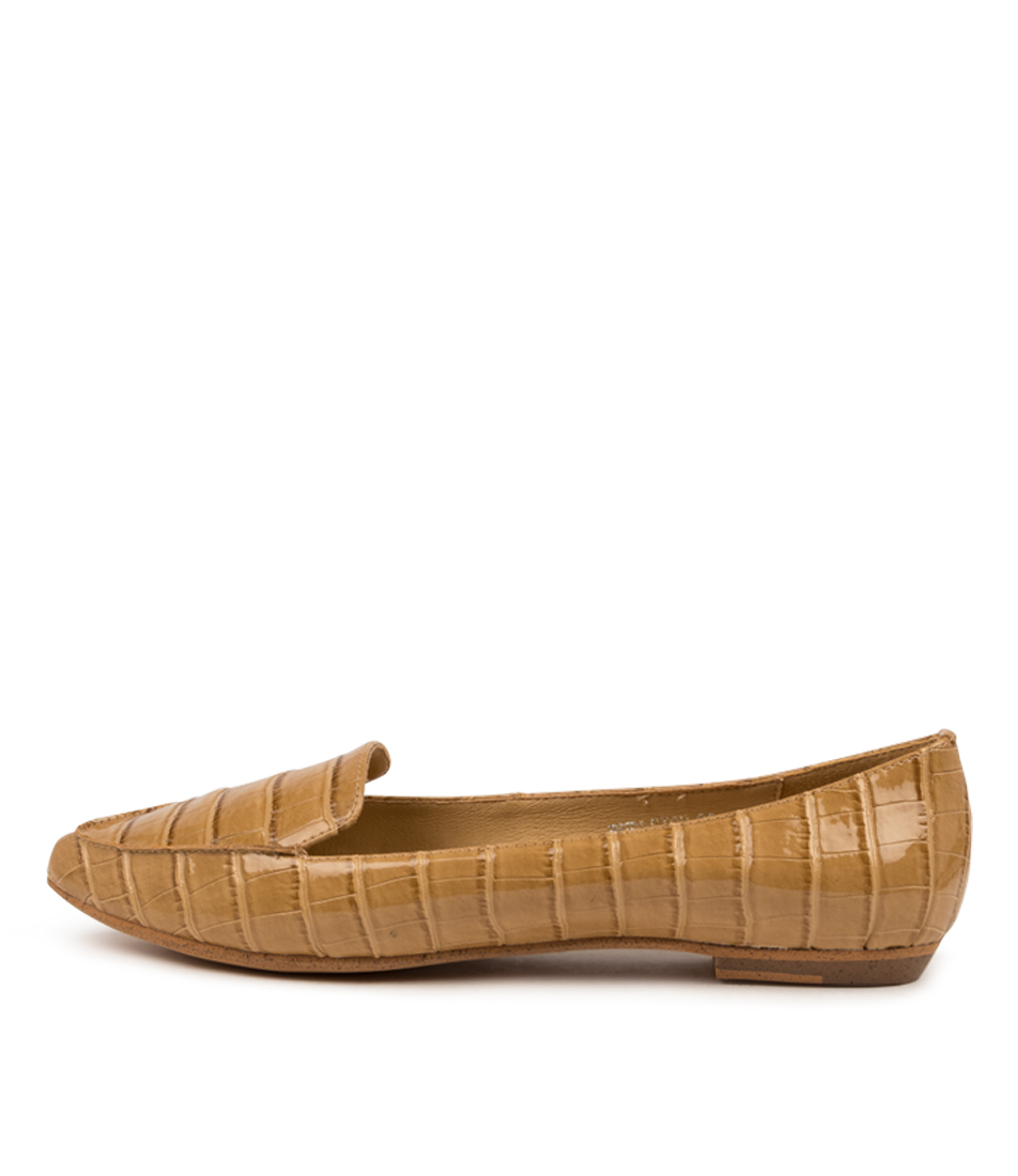 Buy I Love Billy Burleigh Latte Croc Flats online with free shipping