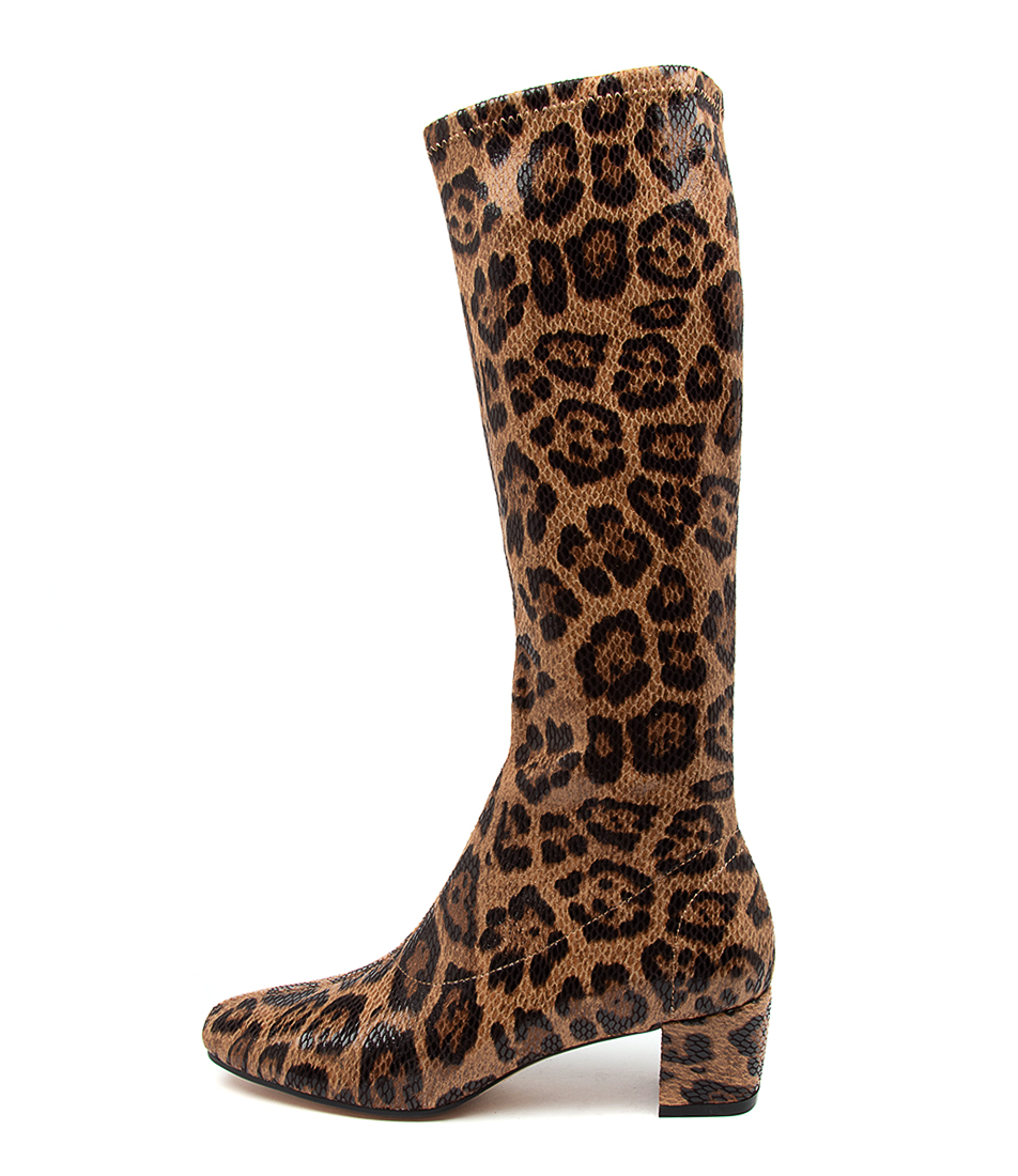 Buy I Love Billy Hoyty Tan Leopard Long Boots online with free shipping
